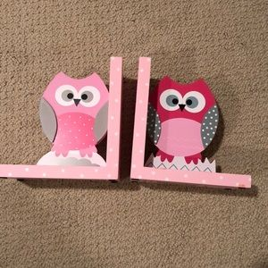 Owl Bookends - Pink